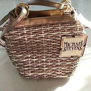 NWT Michael Stevens metallic woven purse